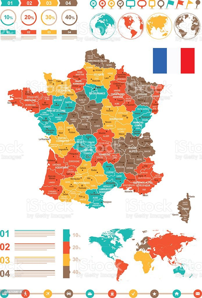 Colored Infographic France Map - Illustration vectorielle