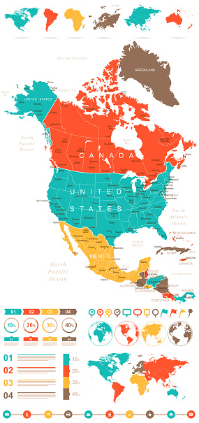 Map Of America 52 States.Colored Infographic North America Map Stock Illustration Download