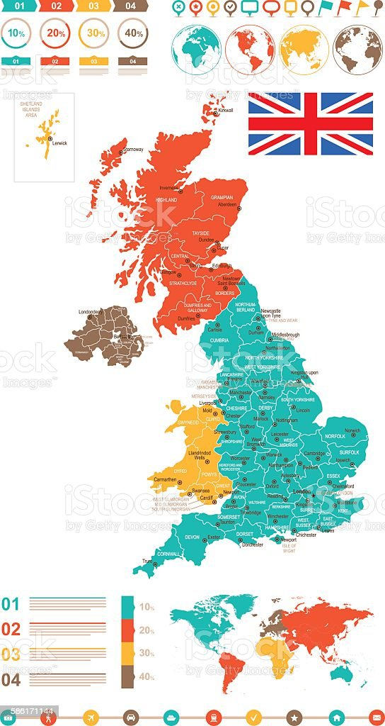 Colored Infographic United Kingdom Map vector art illustration