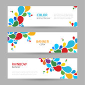 Colored ink. Set horizontal banners with empty place for text. Abstract summer vector backgrounds. color banner templates for your projects.