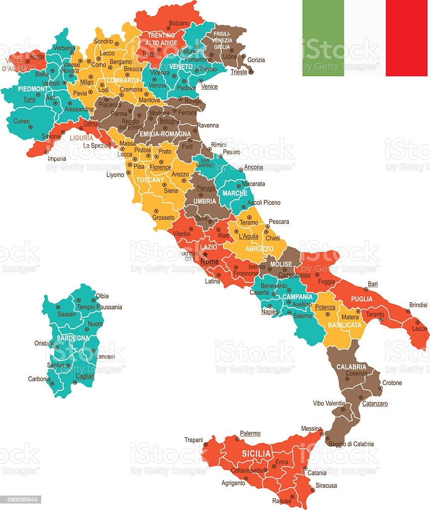 Colored Italy Map Stock Vector Art More Images of Blue 590599944