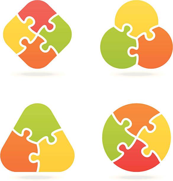 farbige puzzle set ich - drei stock-grafiken, -clipart, -cartoons und -symbole