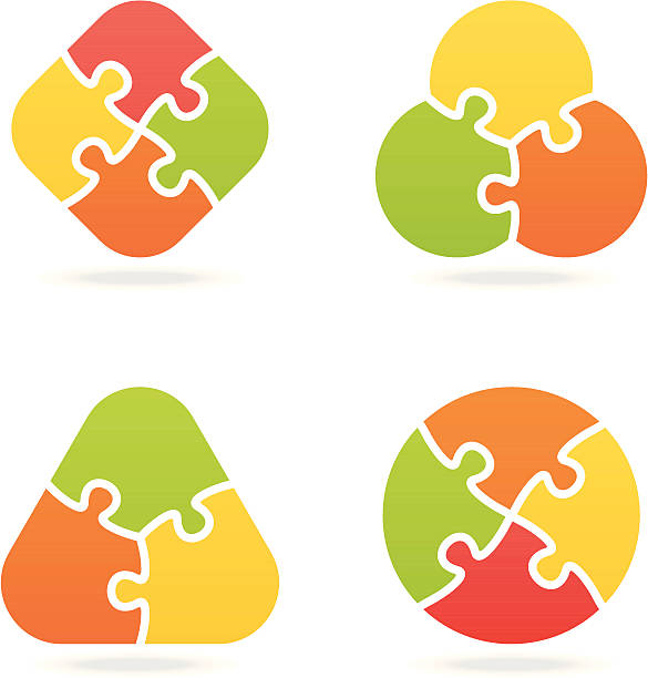 farbige puzzle set ich - puzzle stock-grafiken, -clipart, -cartoons und -symbole