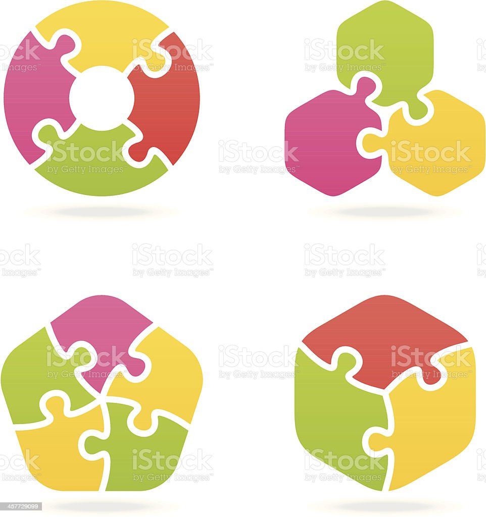 colored jigsaw puzzle set II vector art illustration
