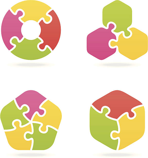 colored jigsaw puzzle set ii - three shapes stock illustrations, clip art, cartoons, & icons