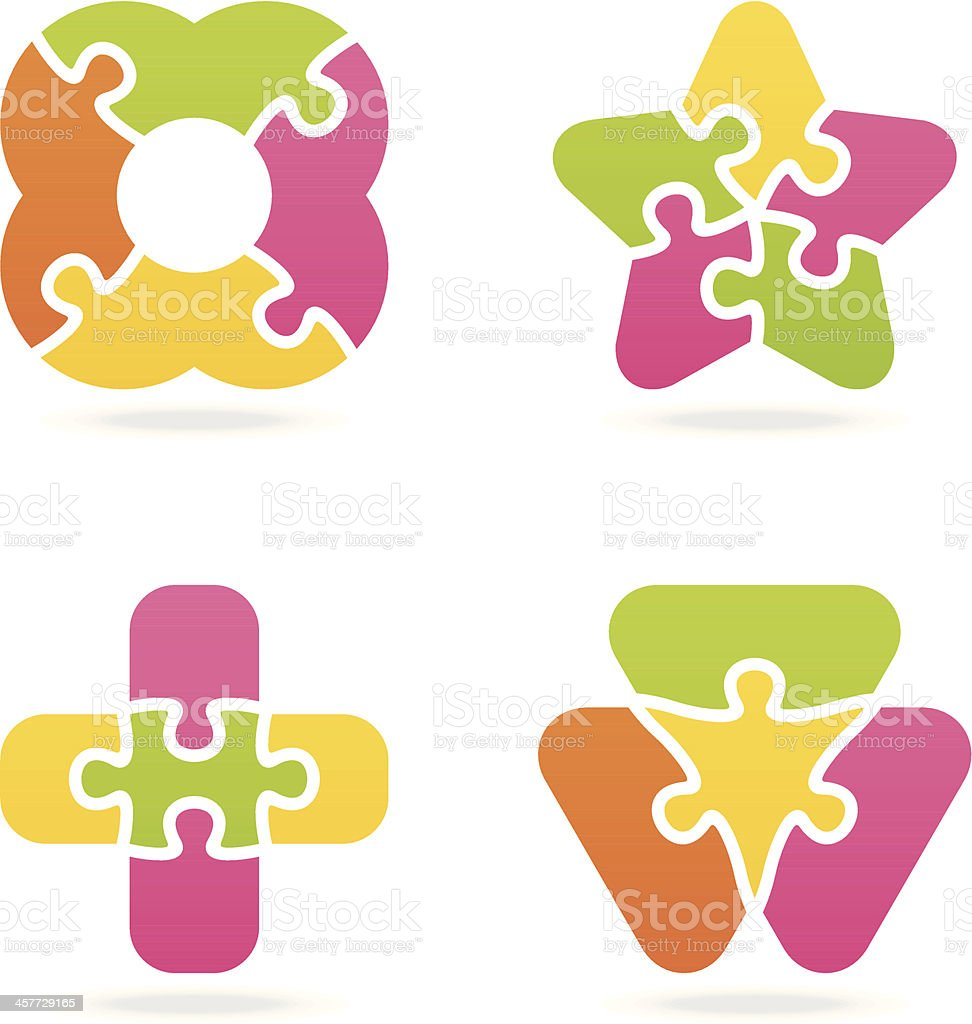 colored jigsaw puzzle set III royalty-free stock vector art