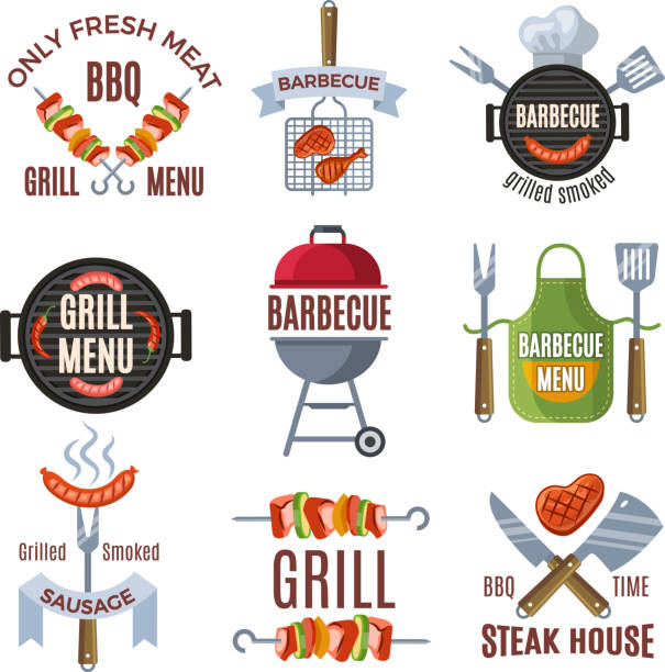 Colored labels set for bbq party. Grilled food Colored labels set for bbq party. Grilled food barbecue steak, bbq menu sign, vector illustration cooking clipart stock illustrations
