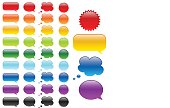 Collection of colored empty labels for adding text or symbols. Image contains transparency, 10 EPS