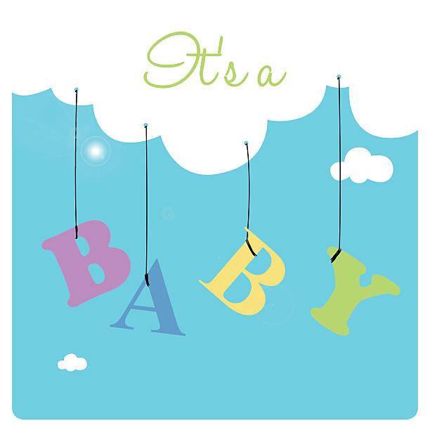 ilustrações, clipart, desenhos animados e ícones de letras coloridas penduradas em uma nuvem de brancos e macios - novo bebê