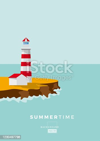 colored Lighthouse on cliff. Design template for Brochure, Flyer or Depliant for business purposes. Vector summer background