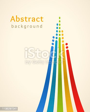 Colored lines with circles over light background. Retro vector backdrop. Design template. Bright lines directed upwards. Abstract illustration. Concept of leadership, competition, success and etc