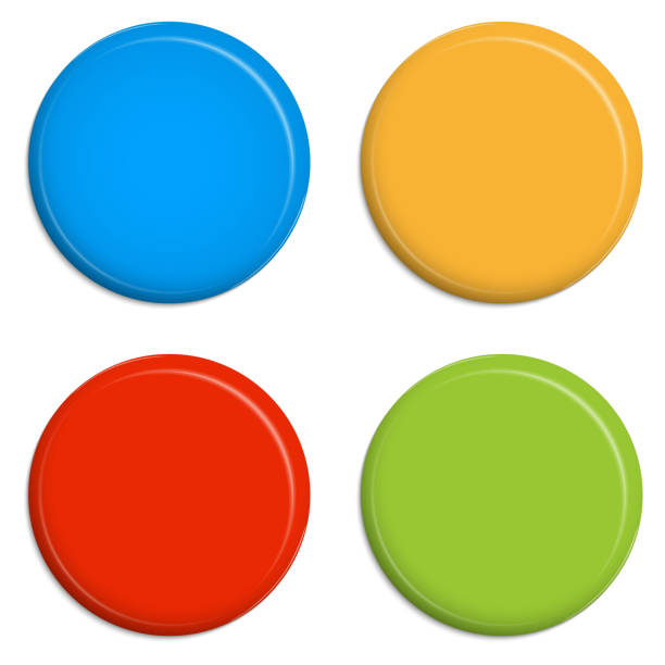 4 colored Magnets / Buttons 4 colored Magnets / Buttons magnet stock illustrations