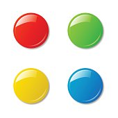 Colored magnets isolated on white background.