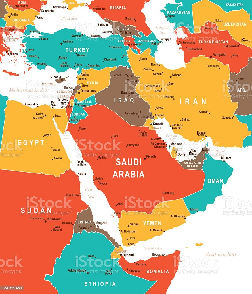 Colored Map Of Middle East Stock Vector Art IStock - World map middle east