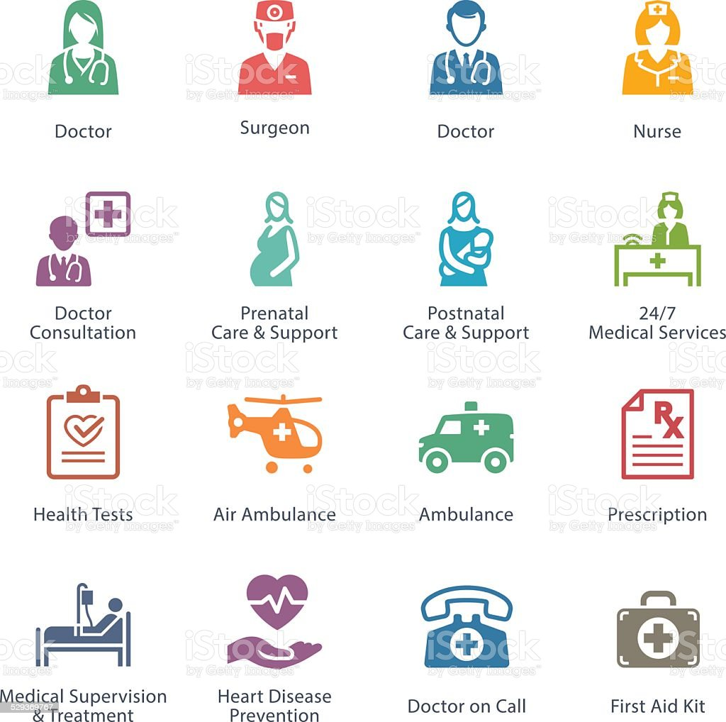 Colored Medical & Health Care Icons Set 1 - Services vector art illustration