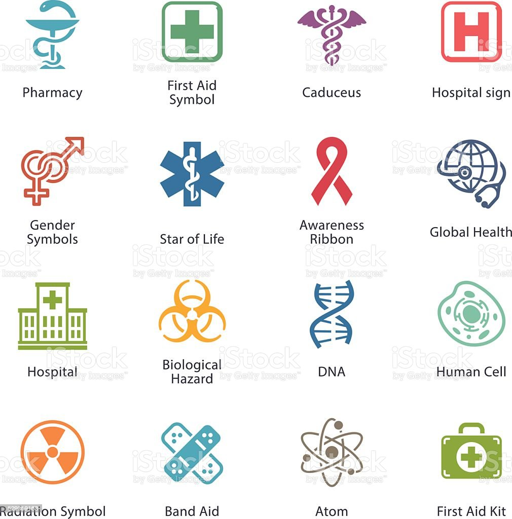 Colored Medical & Health Care Icons - Set 1 vector art illustration