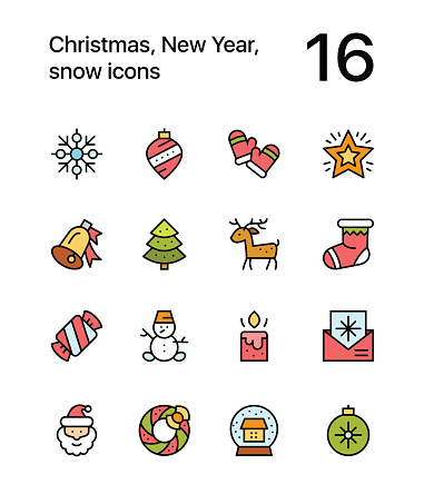 Colored Merry Christmas And Happy New Year Icons For Web And Mobile Design Pack 3 Stock ...
