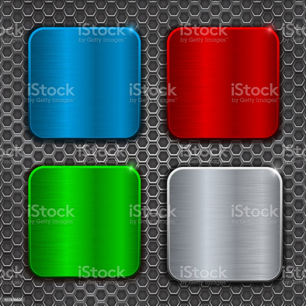 Colored metal brushed square plates on perforation background royalty-free colored metal brushed square plates & Colored Metal Brushed Square Plates On Perforation Background Stock ...