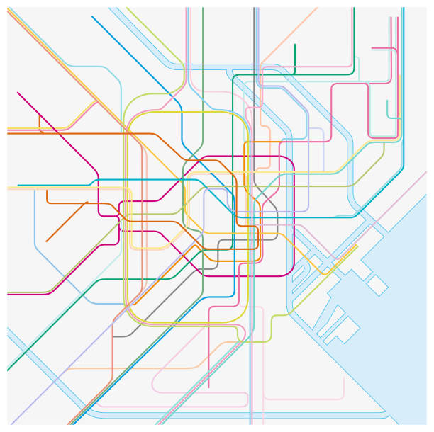 colored metro vector map of the japanese capital tokio colored metro vector map of the japanese capital tokio tokyo stock illustrations