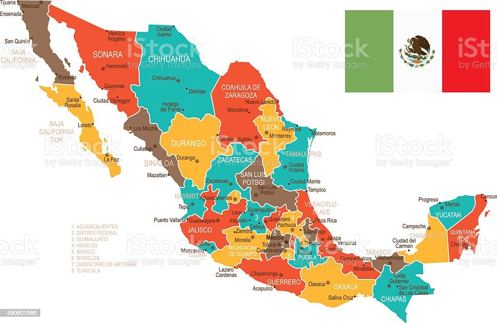 colored mexico map royalty free colored mexico map stock vector art more images