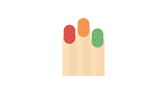Colored nail fingers icon