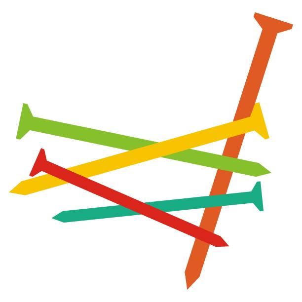 farbige nägel, vektor-illustration - nagelspitze stock-grafiken, -clipart, -cartoons und -symbole