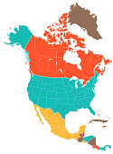 Colored Empty Map of the North America - illustration