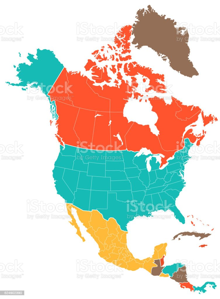 Colored North America Map vector art illustration