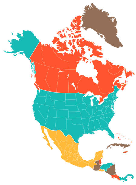 colored north america map - north america maps stock illustrations, clip art, cartoons, & icons
