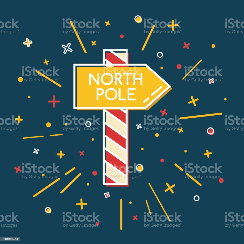 Colored North Pole waypost icon in thin line style vector art illustration