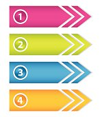 Colored numbered arrow stickers