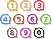 Colored Numbers in Round Speech Bubbles
