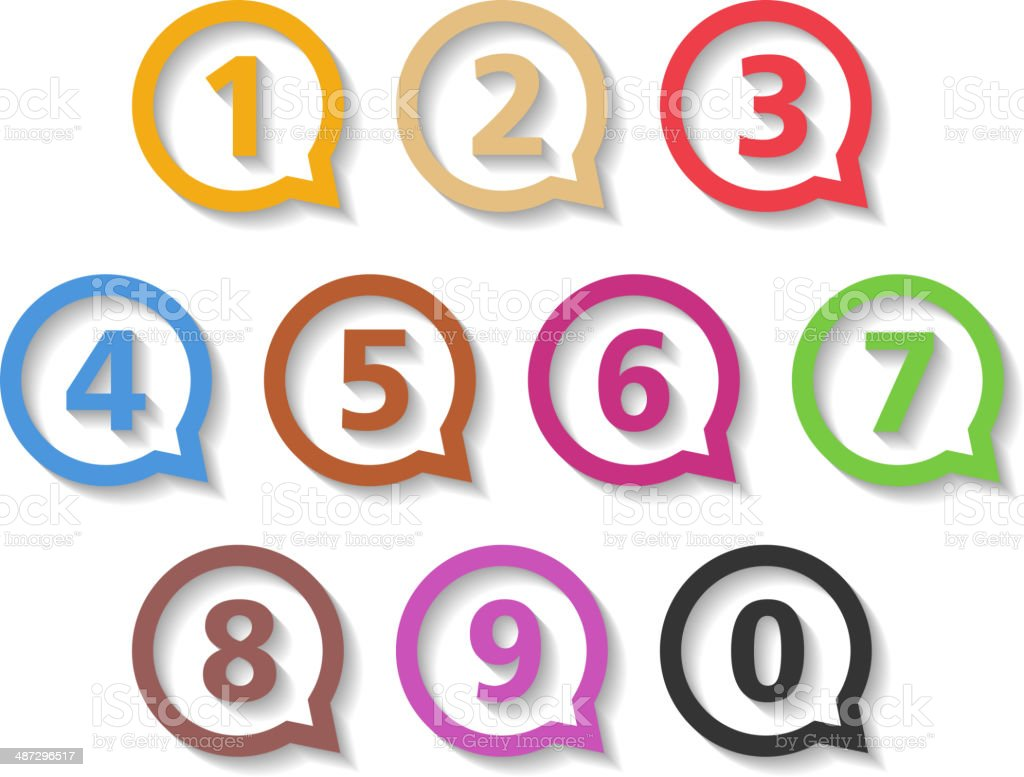 Colored Numbers in Round Speech Bubbles vector art illustration