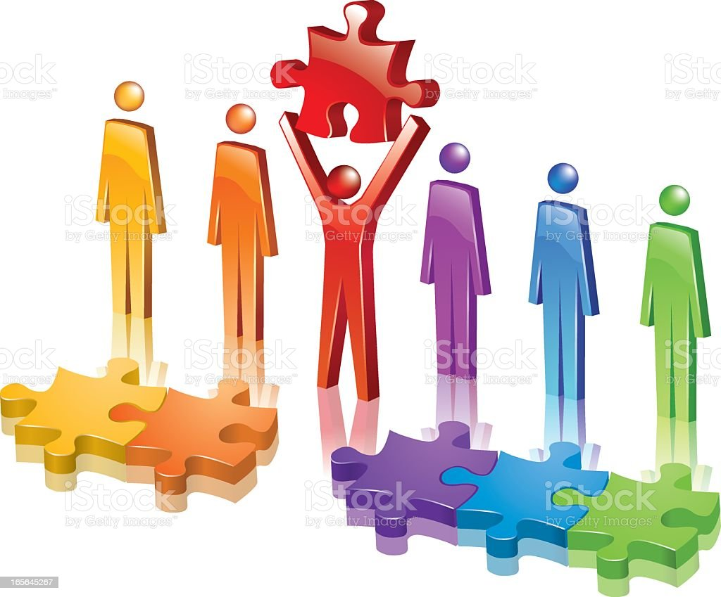 A colored organized group jigsaws royalty-free stock vector art