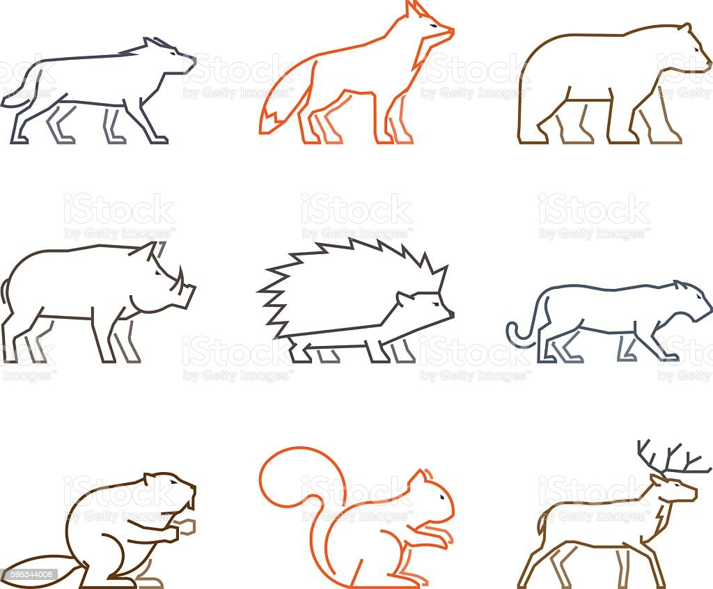 Colored outline set of forest animals. vector art illustration