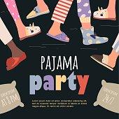 色付きのパジャマパーティーポスター。ベクターテンプレートスランバーパーティー
