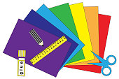 colored paper of all colors of the rainbow glue scissors and a ruler to make applications isolate, vector