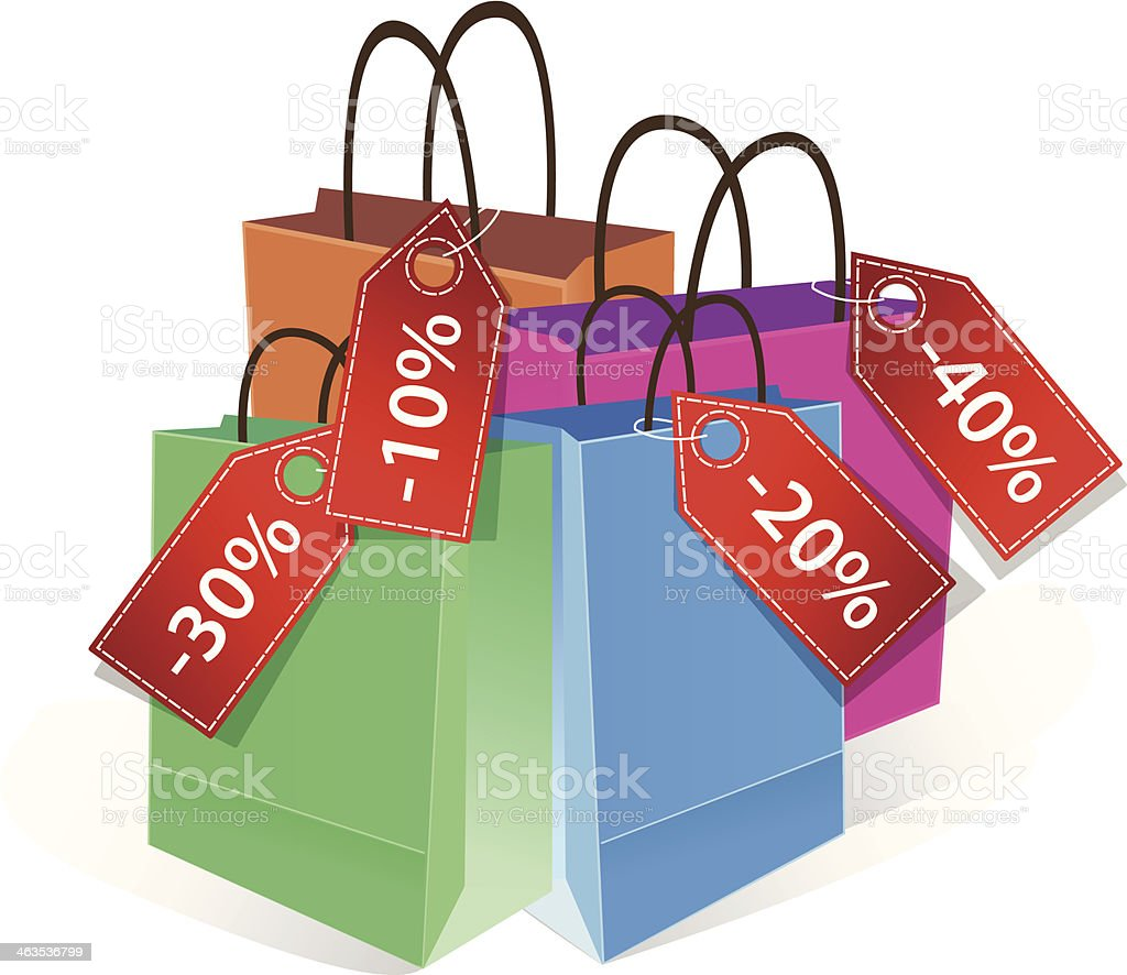 colored paper shopping bag with discount labels royalty-free stock vector art