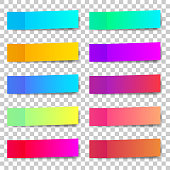 Colored paper stickers set with different designs on a transparent background. Shaded sticky notes on a transparent background.