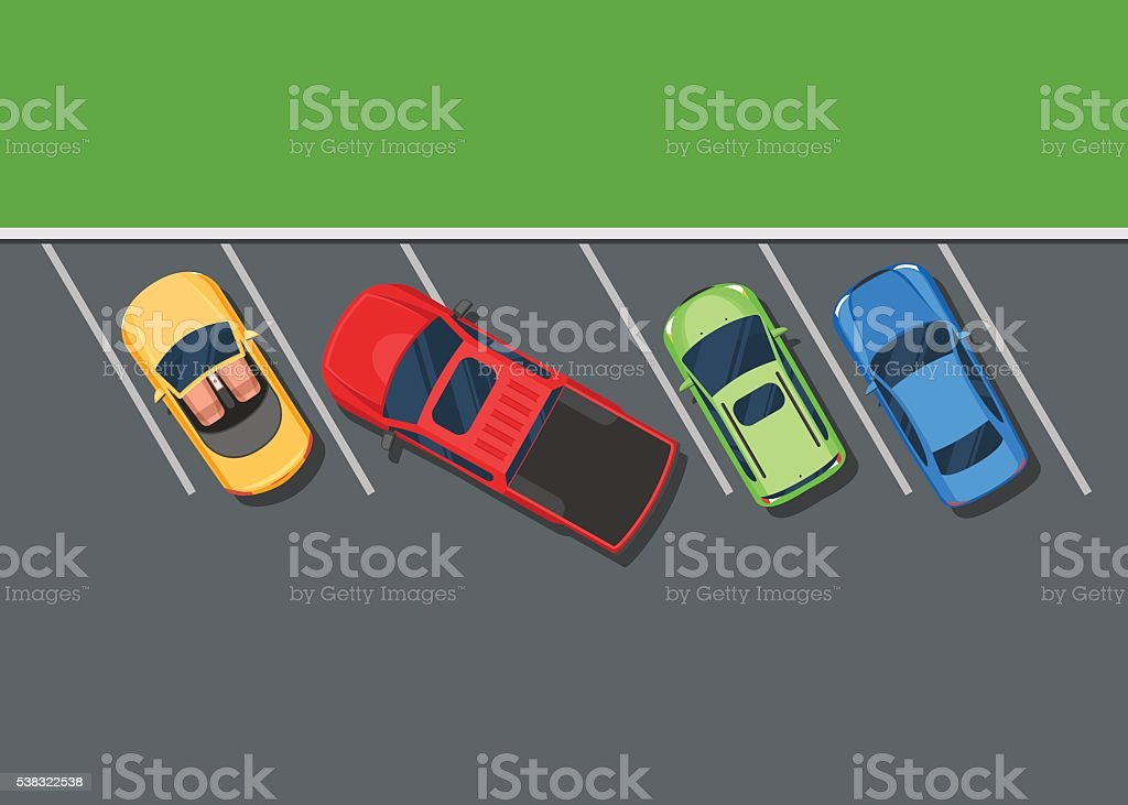 Colored Parked cars. Bad parking pickup vector art illustration