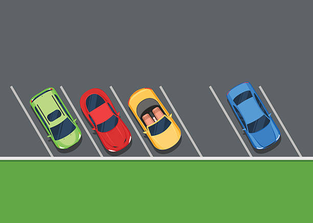 illustrations, cliparts, dessins animés et icônes de couleur des véhicules stationnés sur le parking - gare