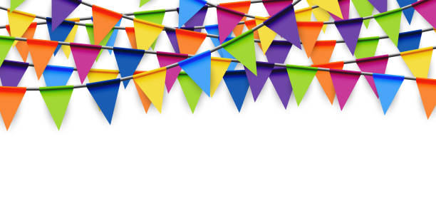 colored party garland background - tradycyjny festiwal stock illustrations