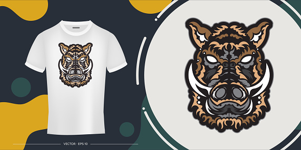 Colored pattern the head of a wild boar. Good for prints, t-shirts, cups and phone cases. Vetkor