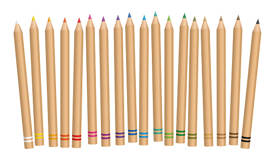Colored pencil, natural wooden textured set. Illustration over white background.