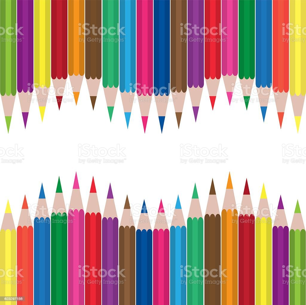 Colored pencil set vector art illustration