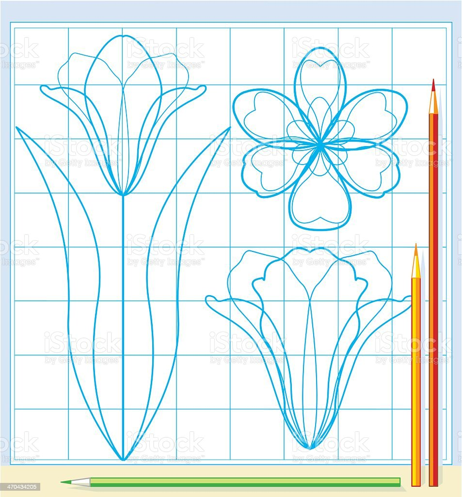 Colored pencils and a schematic drawing of flowers vector vector art illustration