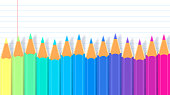 Colored pencils on lined notebook paper with space for copy gradient background pattern.