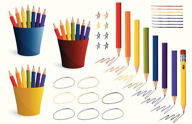farbige stifte und bewegungen - kunstunterricht stock-grafiken, -clipart, -cartoons und -symbole