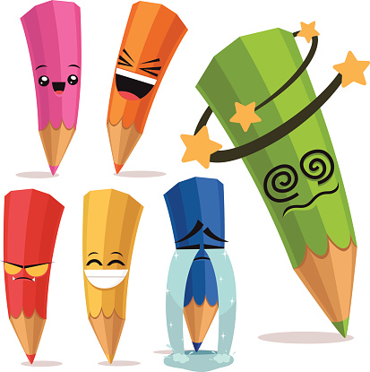 Colored Pencils Cartoon Set B
