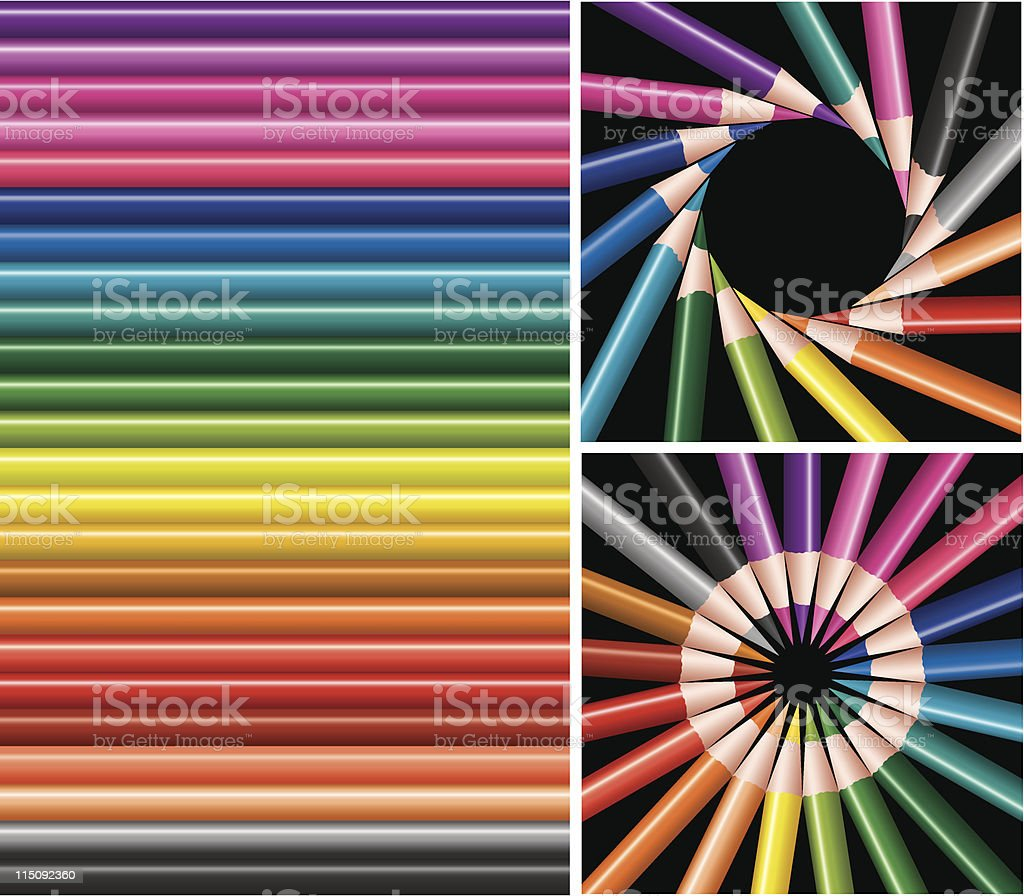 colored pencils, collage royalty-free stock vector art